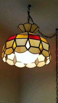 Red, Gold and Carmel Tiffany Style Hanging Light