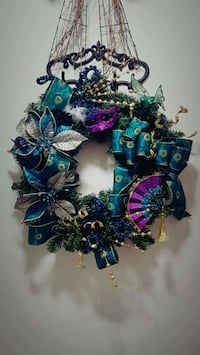 Peacock colored wreath
