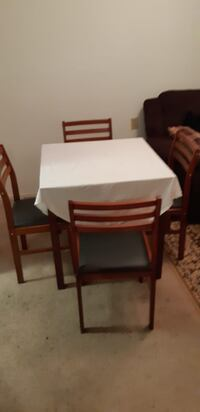 rectangular brown wooden table with four chairs dining set TORONTO