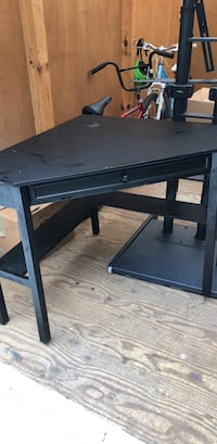 black wooden single-drawer desk Arlington, 22213