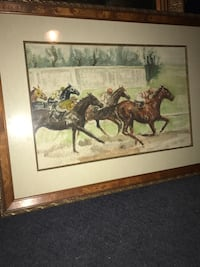Jockey painting with brown frame North Plainfield, 07060