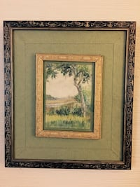 Newcomb College circa 1890 Green tree on green grass field painting and brown frame