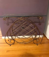 Glass top wine holder entry table