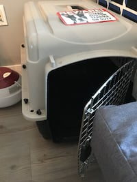 Gray pet carrier dog crate