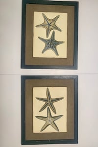Antique Beach House Hand Painted Starfish Wall Mount Framed Paintings