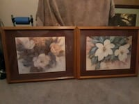 two brown wooden framed painting of white flowers Olive Branch, 38654