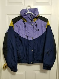 blue and purple The North Face button-up windbreaker