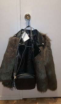 Gucci side bag and warm fur winter jacket