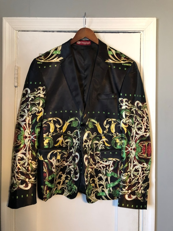 Men's printed black blazer size 54 fits like Large excellent condition