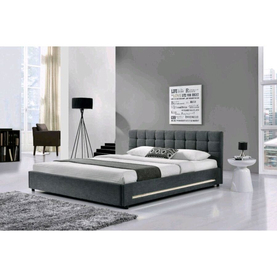 King size LED Bed Frame - Grey Fabric