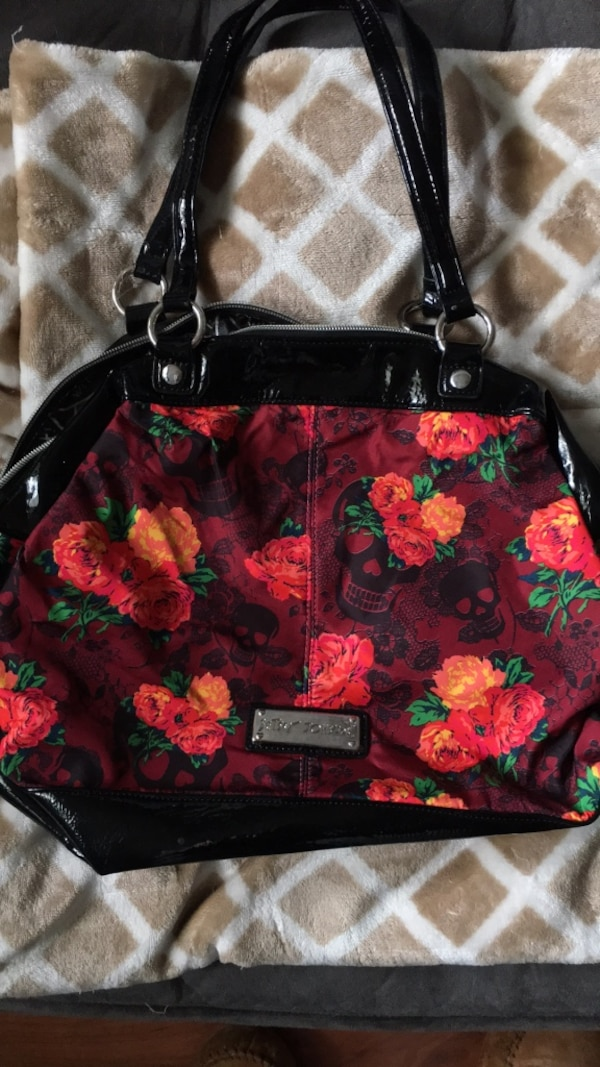 819a50d973c0 Used Black and pink floral leather handbag for sale in San Jose - letgo