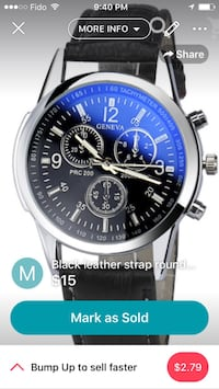 round silver chronograph watch with black leather strap screenshot