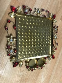 Gold color beaded small tray I live in queens village New York, 11428