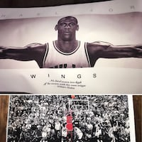 Father's Day blow out! Michael Jordan last shot & wings on canvas GOAT