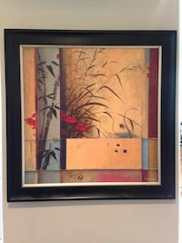 brown, red, and gray floral painting with black wooden frame Nanaimo, V9R 7B4