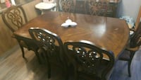 Large brown wooden dining set table with 6 chairs Gatineau, J9J