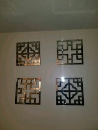 four square silver metal wall decors