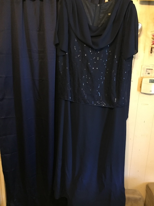 Navy evening gown, with sequins on front top part.