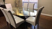 rectangular brown wooden table with six chairs dining set Toronto, M6B 1N1