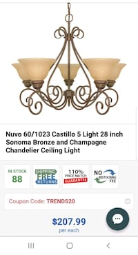 Nuvo 60/1023 chandelier ceiling light
