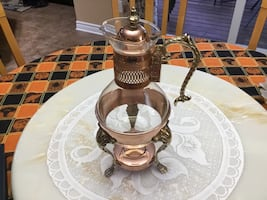 Exquisite Vintage 50's Copper Carafe Glass Chafing Pot and Stand.