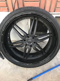 """A pair of 26"""" and 28"""" rims for package deal one 28 need new tire all rest are brand new and one 26 has lil dent as u can see in both pics of them  Ogden, 84401"""