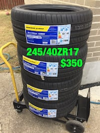 four vehicle tires with text overlay
