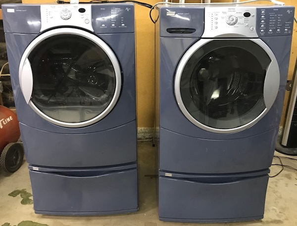 Blue Kenmore Elite 110 He4 Front Load Washer And Dryer Set With Pedestals