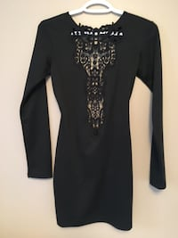 black and gray long-sleeved dress Vaughan, L4H