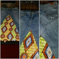 Womans Hand Made Denim And African Print Skirt District Heights, 20747