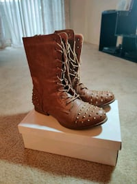 Refresh Lace Up Studded Brown Boots size 10