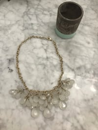 Clear jewels gold adjustable chain necklace