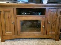 brown wooden TV stand with cabinet Aurora, 80017