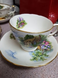 white and green floral ceramic teacup with saucer Markham, L3T 4T7