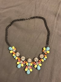 black chain with blue, yellow, and pink gemstone beaded bubble necklace