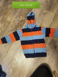 toddler's black, red, and gray striped zip-up hoodie