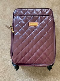 Joy & Iman Burgundy Quilted Suitcase & Cosmetic Tote Set - BRAND NEW