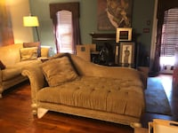 2 piece beige fabric sofa and chaise with throw pillows Belcamp, 21017