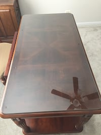 Brown wooden framed glass top desk and chair  Lake Villa, 60046