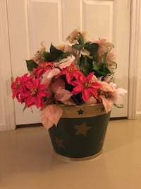 Beautiful white and red poinsettia basket