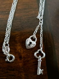 Real silver necklace with heart lock pendant Mississauga, L5M 0A5