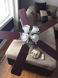 Brown 5-bladed ceiling fan with light fixture Mississauga, L5N 8J3