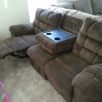 brown double recliner couch  Las Vegas