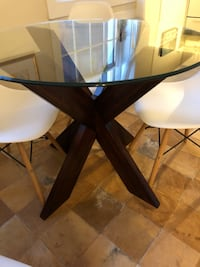 rectangular glass top table with black wooden base Washington, 20024