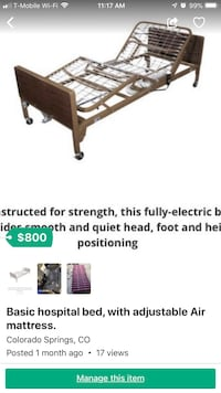 Hospital bed with air adjustable mattress Widefield, 80911