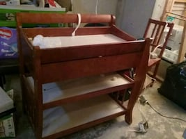 Crib with mattress and changing table