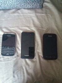 two black Android smartphones and BlackBerry QWERT Hamilton, L8J 0B2