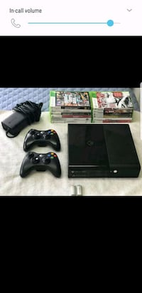black Xbox 360 with 1controller and game cases Brampton, L6S 5V8