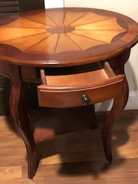 Two solid wood end table with inlay on top Riverbank, 95367