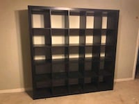 Ikea Kallax 25 Cubby Shelf- Dark Brown Flower Mound